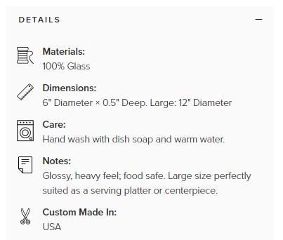VIDA info for glass tray